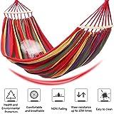 Ruixf Hamaca de jardín, Hamacas portátiles Transpirables a Rayas de Lona Patio Patio al Aire Libre (M -200cm X 100cm,Rayas Arcoiris)