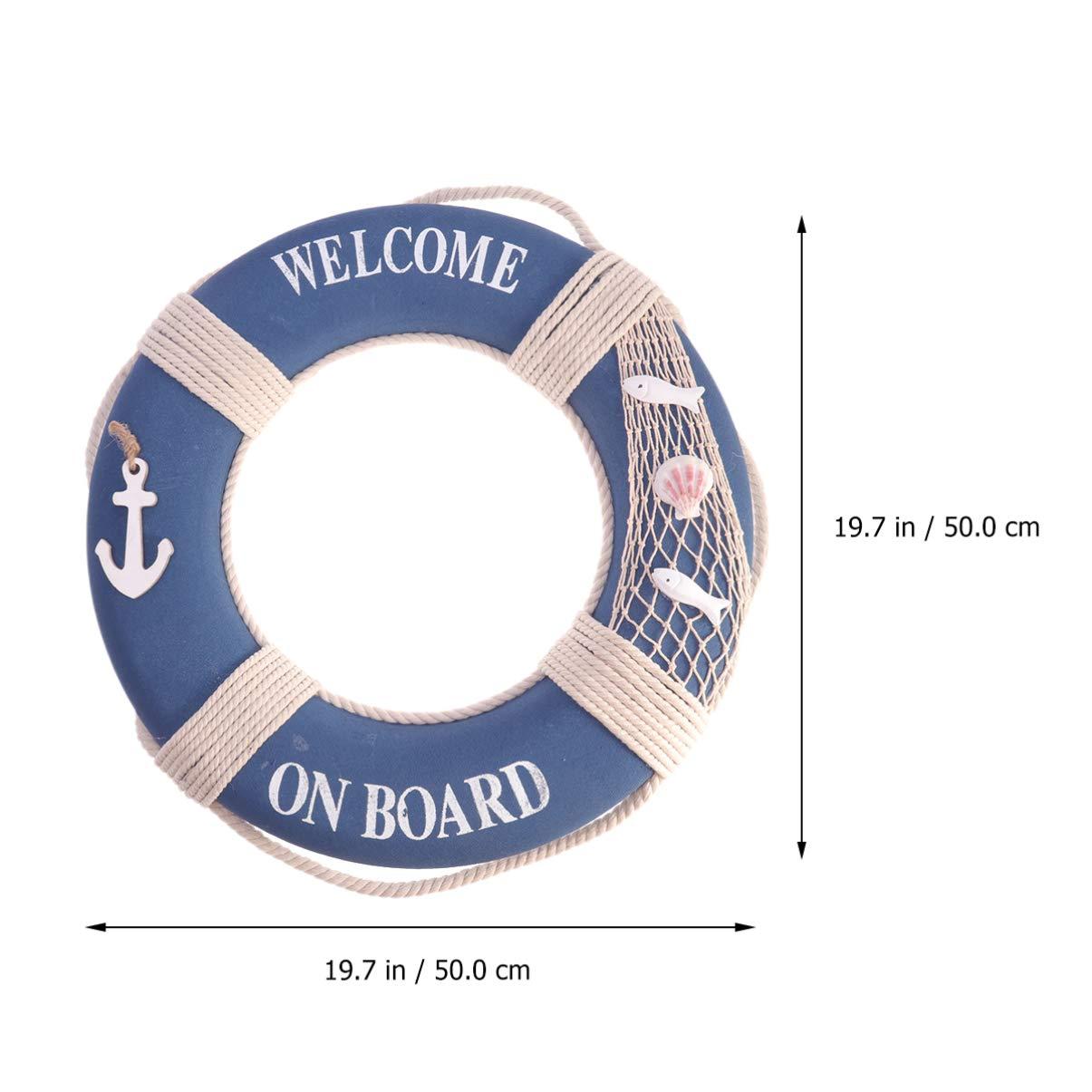 Bleu Amosfun Bou/ée de Sauvetage D/écorative Welcome on Board Inscription M/éditerran/éen Bou/ée De Sauvetage Marine Nautique D/écoration Suspendu Mural pour Porte Bar 14cm