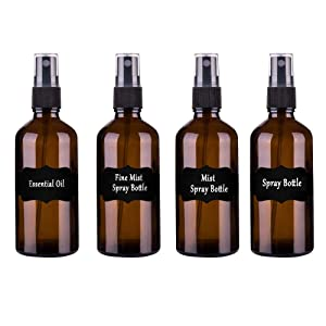 4oz/120ml Cobalt Brown Glass Spray Bottles,4 Pack Empty Spray Bottle Refillable Containers for mixing Essential Oils,Hair & Cleaning Products,Aromatherapy,Natural Air Freshener,Plants etc - DIY Labels