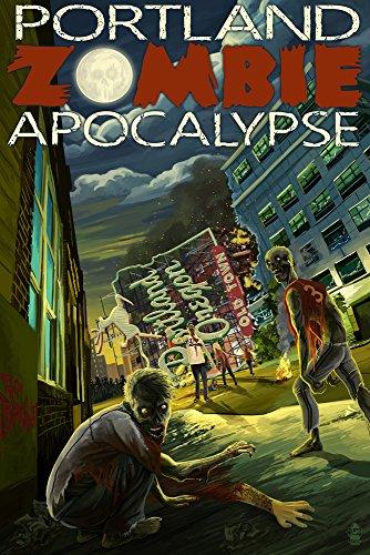 Portland, Oregon - Zombie Apocalypse (12x18 Art Print, Wall Decor Travel - Oregon Framing Portland Supplies