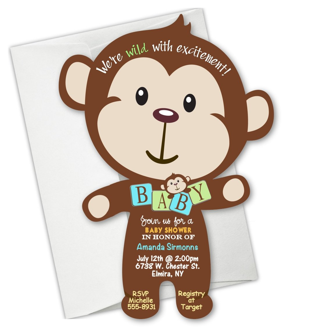 Amazon.com : Jungle Monkey Baby Shower Invitation Birthday ...