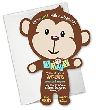 Amazon jungle monkey baby shower invitation birthday jungle monkey baby shower invitation birthday invitations filmwisefo
