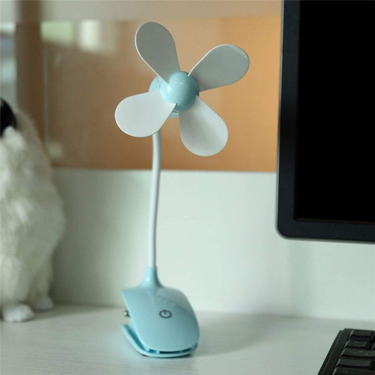 Mini Portable Fan USB Rechargeable Touch Switch Electric Fan Table Household Air Conditioning Baby Carriage Clip Fan,Blue