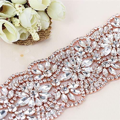 1Yard Crystal Rhinestone Trim Applique Belt for Bridal Sash and Wedding Dress-Hot Fix or Sew on-Rose Gold(36