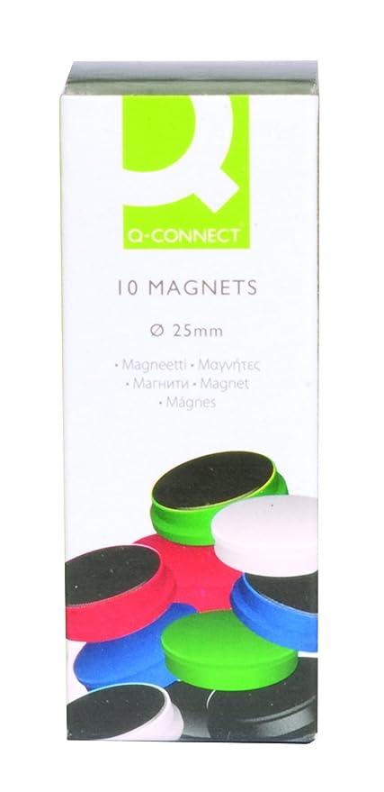 Q-Connect Imanes Para Sujeción Ideal Para Pizarras Magnéticas 25 Mm 5 Colores Surtidos Caja De 10 Imanes
