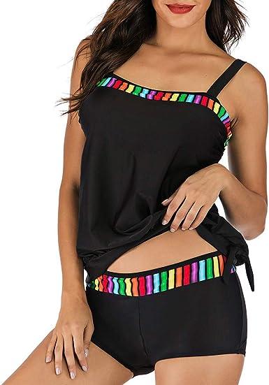 Maillot De Bain Femme 1 Pieces Tankini Robe avec Jupette Creux Maillot de Bian 1 Pi/èce L/âche Push-up El/égant Amincissant Bikini Grande Taille