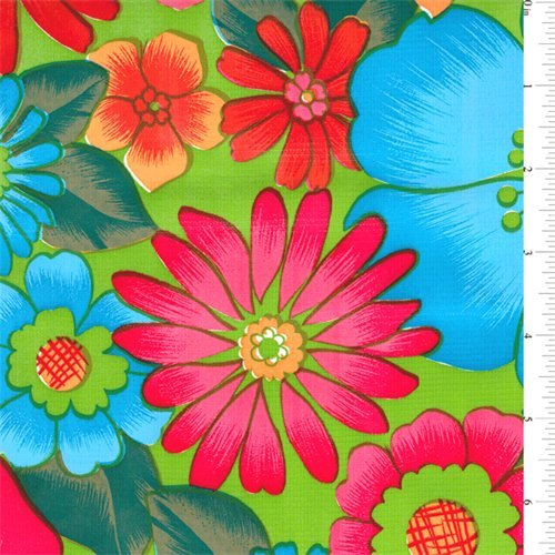 Lime Floral Oilcloth, Fabric By the Yard ()