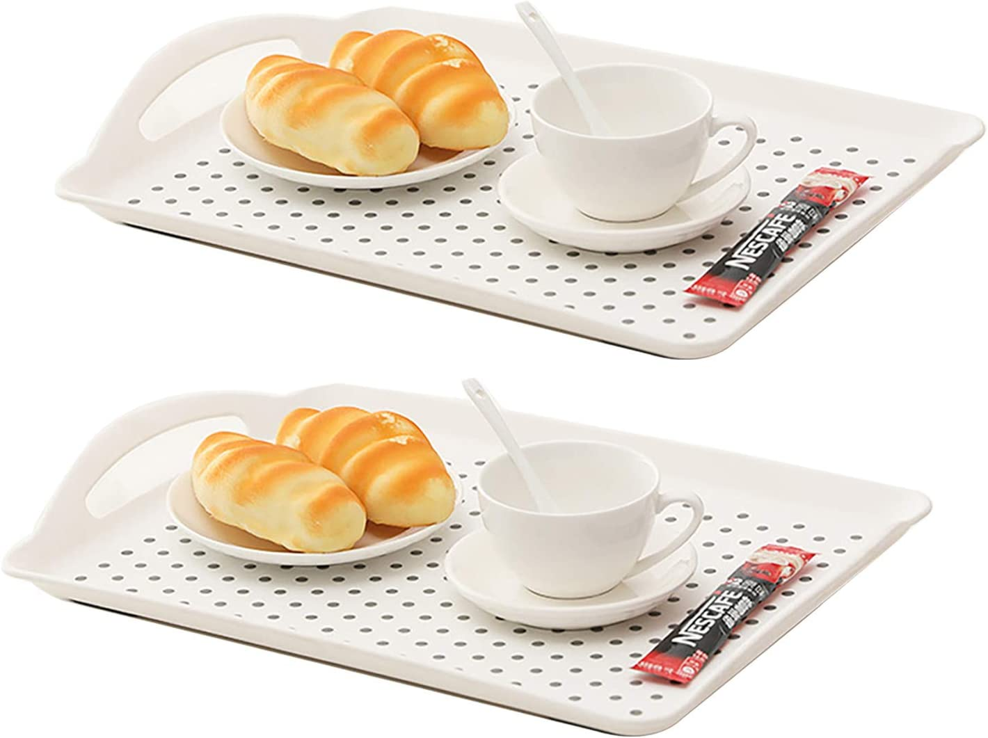 2Pcs Rectangle Anti-Slip Food Serving Tray with Handles, Non Skid Multipurpose Tray for Breakfast Food Drink Trays