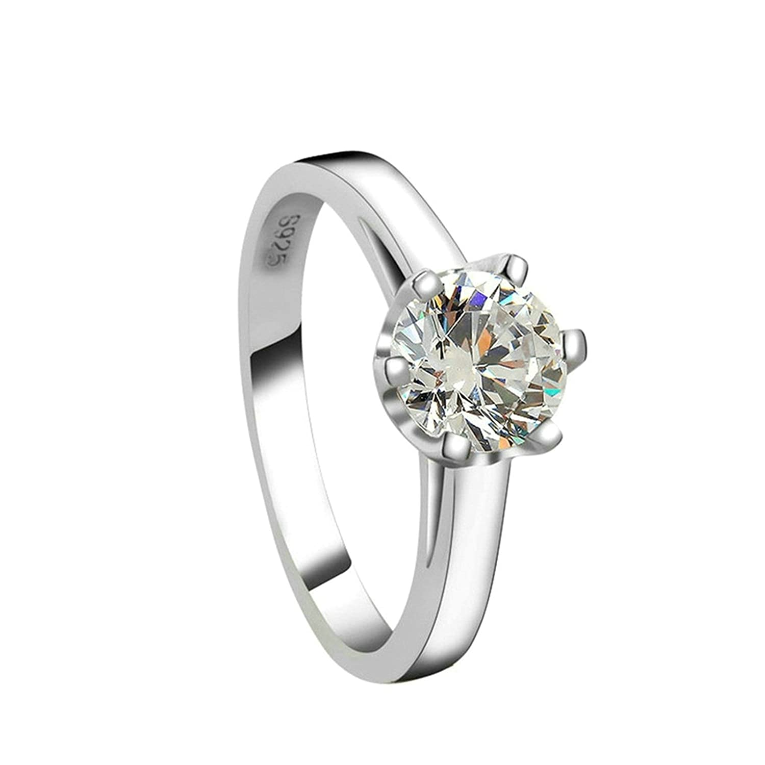 Womens Ladies Silver Plated Wedding Bands Promise Ring 6-prongs Round White Crystal US 5 Aooaz Jewelry