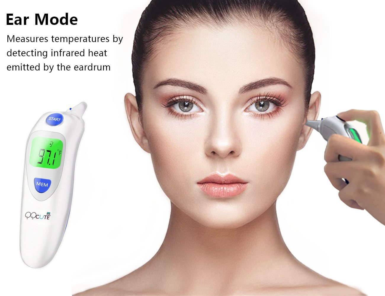 Digital Infrared Baby Forehead Thermometer with Ear Function More Accurate Medical Fever Body Basal Thermometers Suitable for Infant Kid Adult - FDA and CE Approved by QQCute (Image #2)