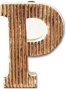 Kaizen Casa Hand Carved Wooden Alphabet Wall Décor/Free Standing P Letter