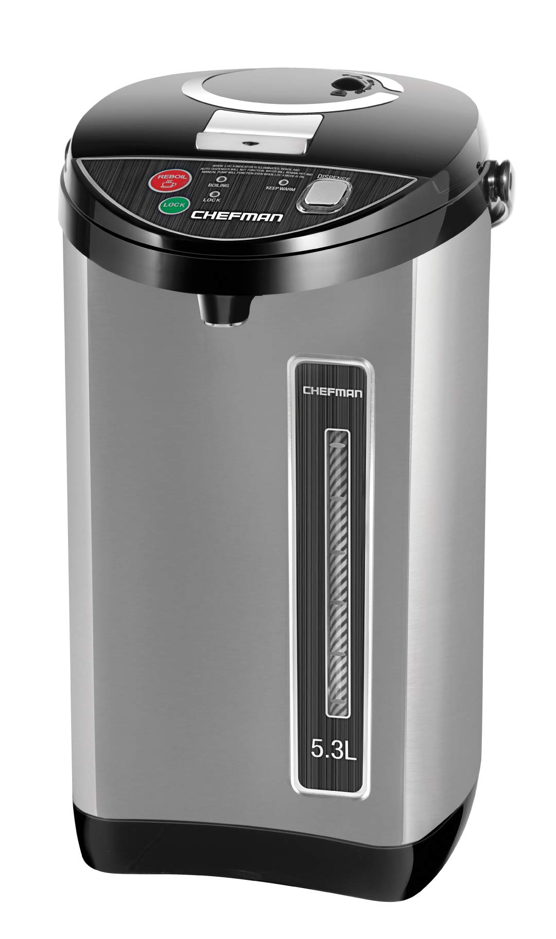 Chefman Instant Electric Hot Water Pot Coffee Urn w/ Auto & Manual Dispense Buttons, Safety Lock, Auto-Shutoff & Boil Dry Protection, UL Certified, Insulated Stainless Steel, 5.3L/5.6 Qt/30+ Cups by Chefman