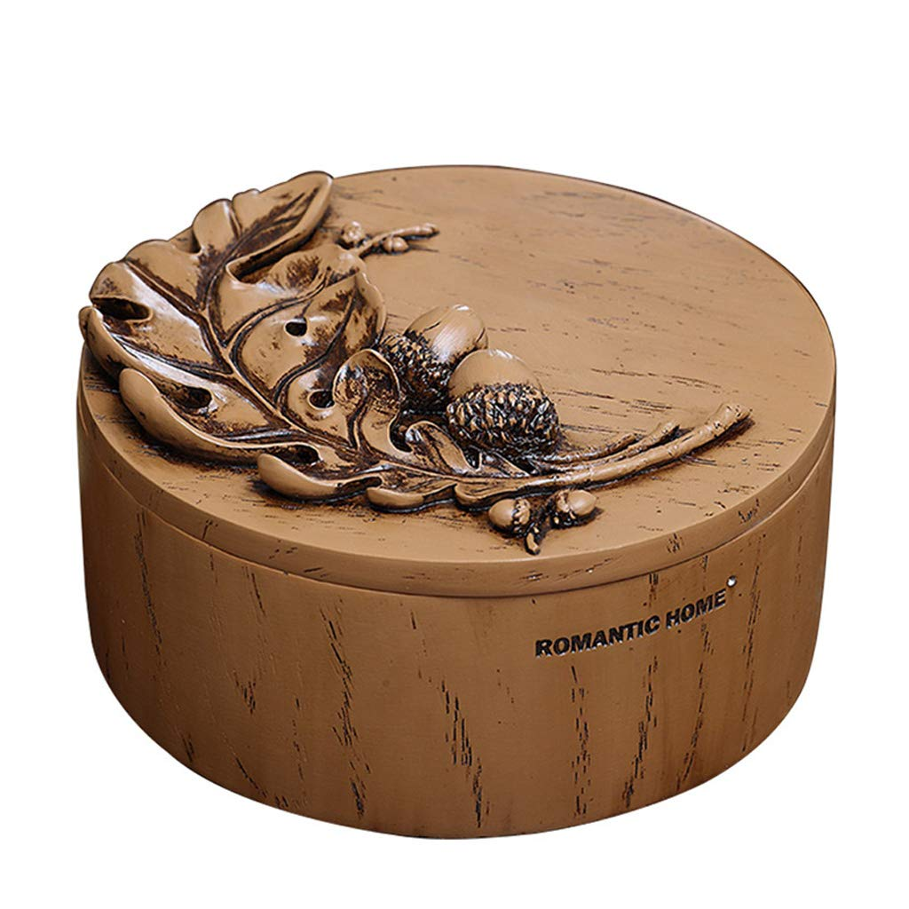 TLMYDD European Desktop Acorn Round Compartment Cosmetic Storage Box Mirror Dust Cover with 17.3x9.5cm Cosmetic Mirror