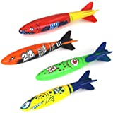 JETTINGBUY Toypedo Bandits set of 4 Diving Toys Glides Under Water - Swimming Pool toy Throwing Toypedo for kids