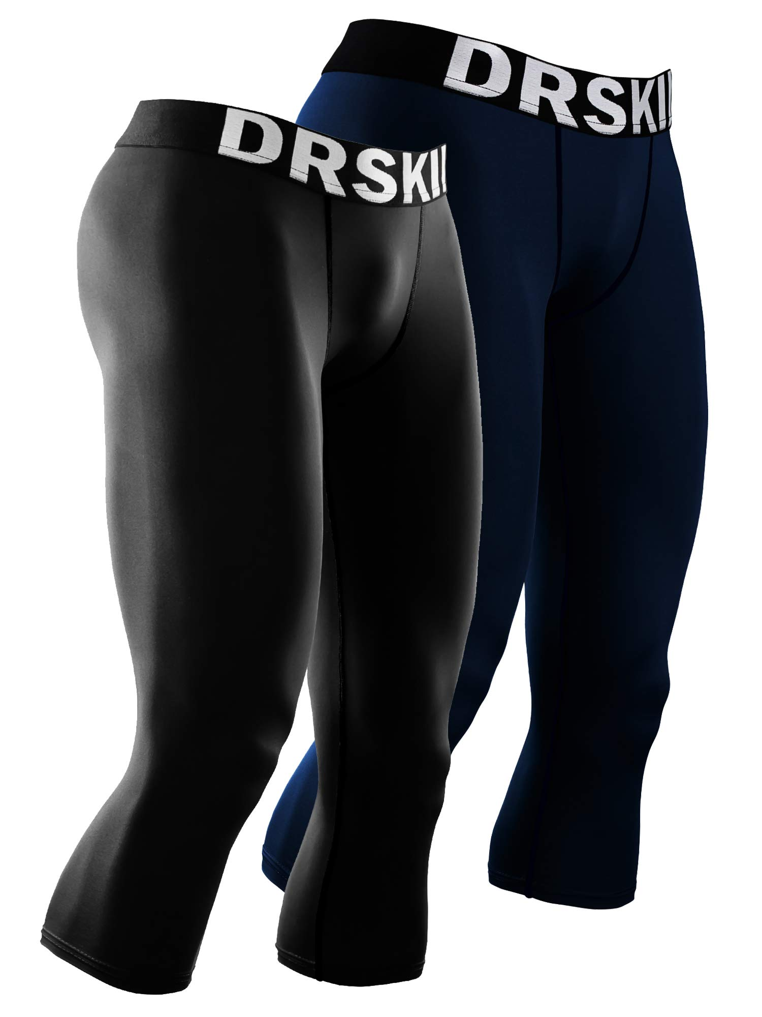 DRSKIN 1~3 Pack Men's 3/4 Compression Tight Pants Base Under Layer Running Shorts Cool Dry (Packs of 1, 2, or 3 Deals) (Line (BB801+DNA808), L) by DRSKIN