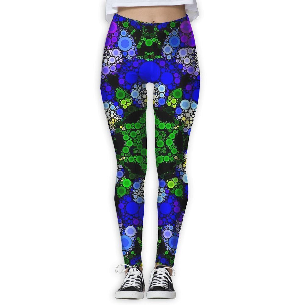 Womens Abstract Star Circle Thin Tight Athletic Yoga Pants Leggings