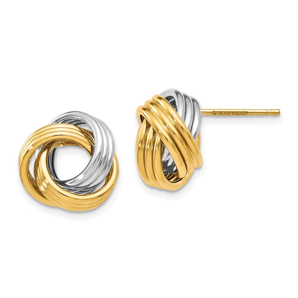 Perfect Jewelry Gift Leslie's 14k Two-tone Polished Love Knot Earrings