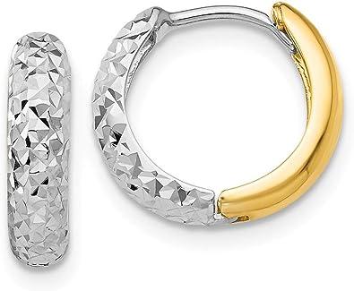 17mm X 17mm 14k Two-Tone Gold Diamond-Cut Hoop Earrings,