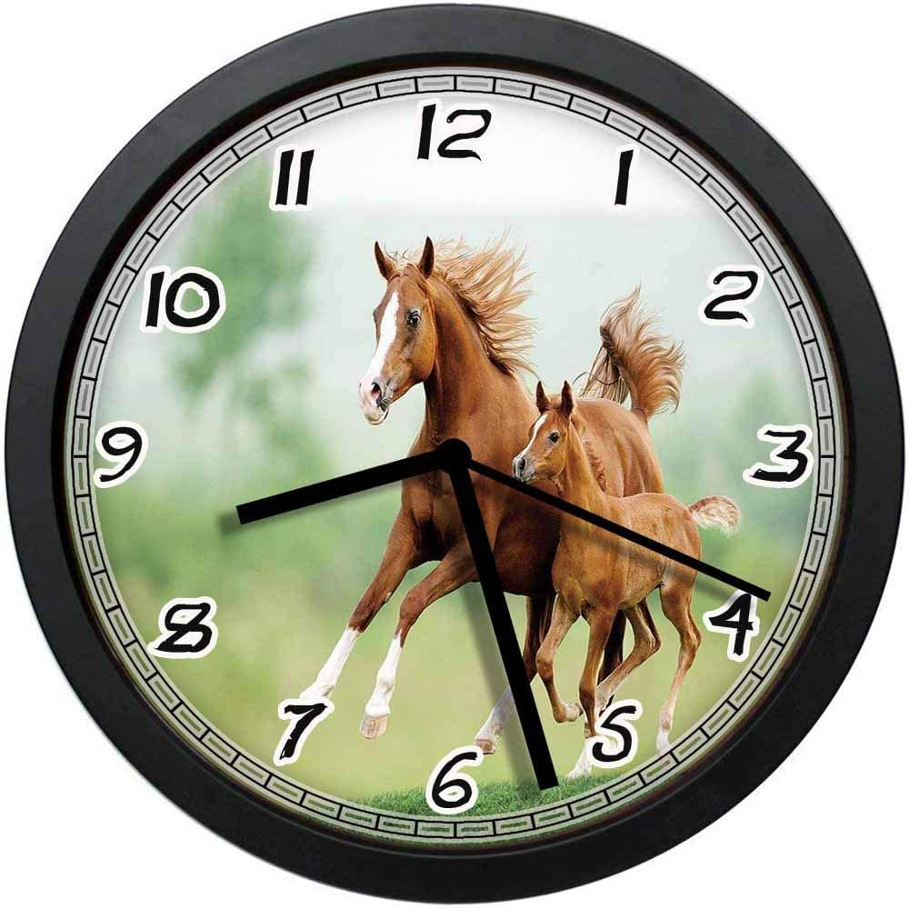 BCWAYGOD Running Chestnut Horses Mare and Foal Meadow Scenic Summer Day Outdoors Non-Ticking Wall Clock Silent Home Decor Battery Operated Clock 10 Inch