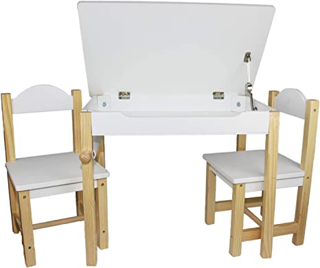 Children Picnic Play Furniture Toddler-Desk-with-Storage Alpine White EasY FoxY ToY Wooden-Kids-Table-and-Chairs-Set Lego Table with Storage Organizer for Boy Girl Age 3 to 6