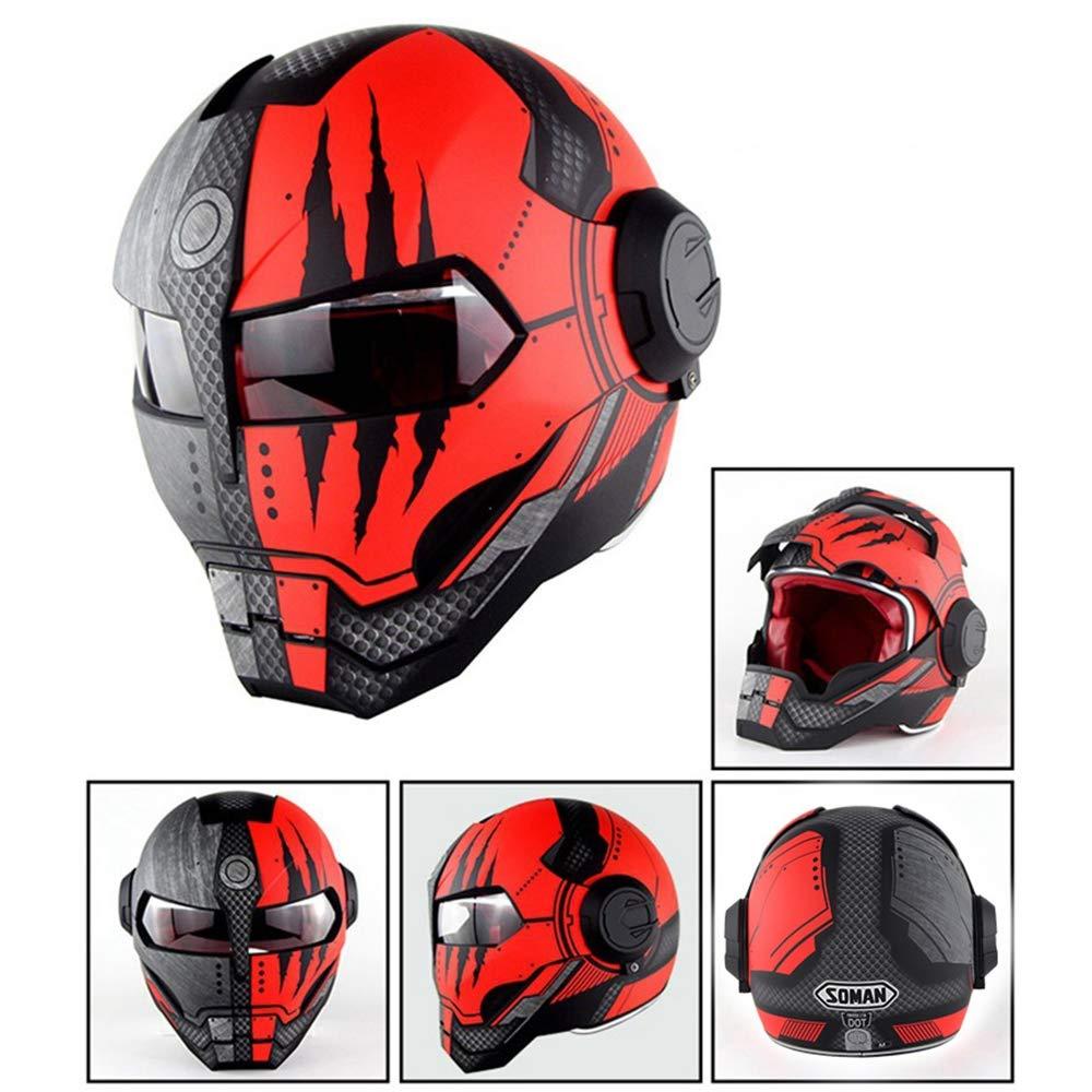 YASULE Cool Marvel Iron Man Motorcycle Helmet,Adult Locomotive Motorcycle Front Flap Full Face Helmet,DOT Certified Helmet Four Seasons Universal,A,M:57~58cm