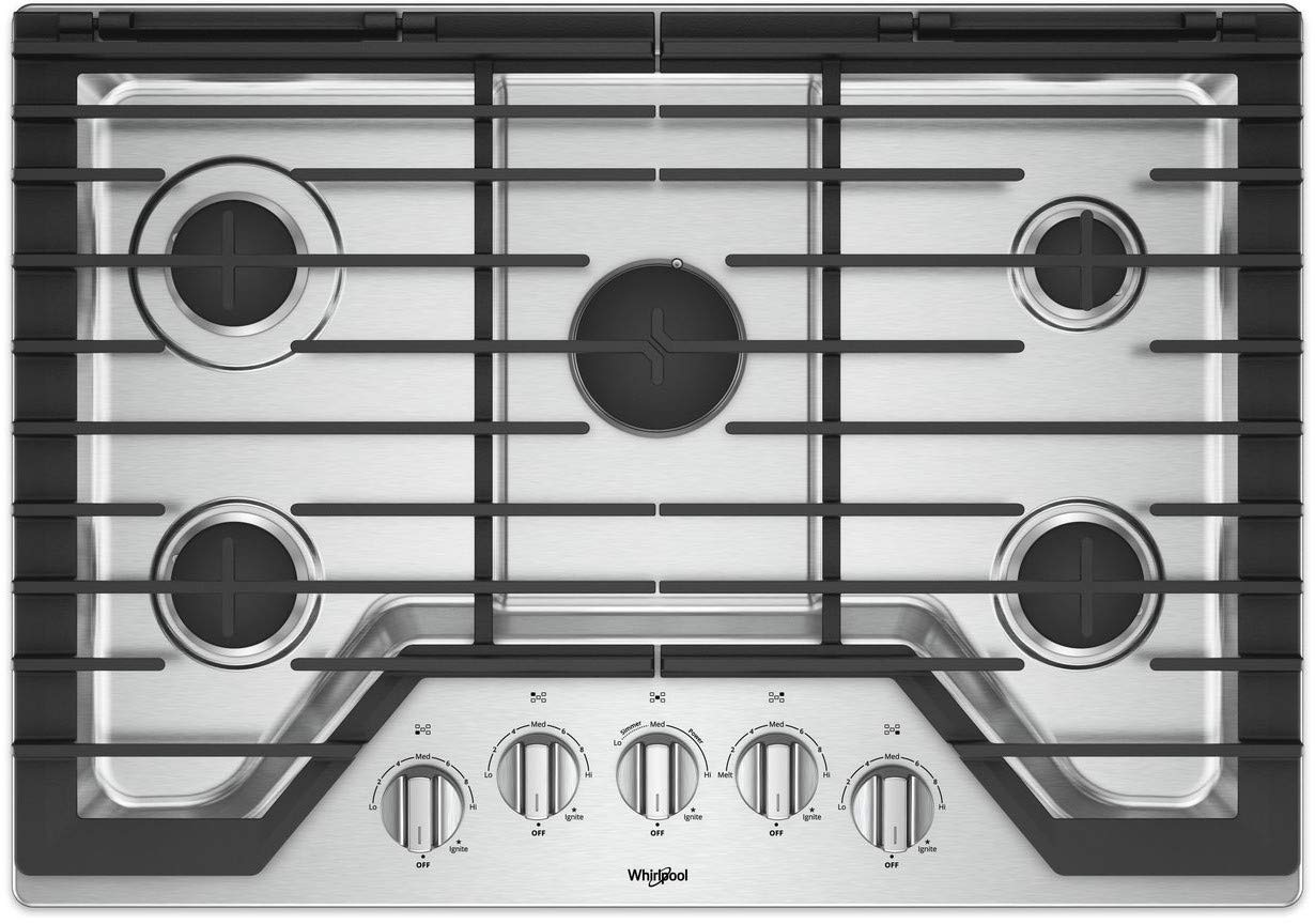 Whirlpool 30-inch 5 Burner Gas Cooktop with Griddle Stainless Steel WCG97US0HS