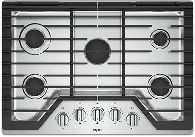 be4c402b5ab Image Unavailable. Image not available for. Color  Whirlpool 30-inch 5  Burner Gas Cooktop with Griddle Stainless Steel WCG97US0HS