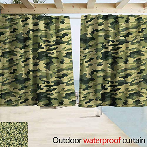 Camo Blind Window - Zmcongz Camouflage Window Blind Clothing Motif with Pale Toned Color Splashes Abstract Patterned Illustration for Patio/Front Porch W63 xL72 Green Yellow
