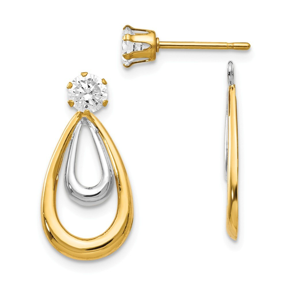 14K Two Tone Polished w/CZ Stud Earring Jackets by Unknown