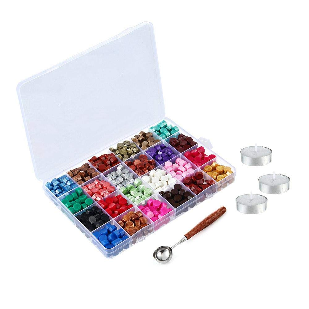 24 Colors Wax Seal Beads 600PCS Octagon Sealing Wax Beads Kit Packed in Plastic Box with 3 Pieces Tea Candles and A Wax Melting Spoon for Wax Sealing Stamp