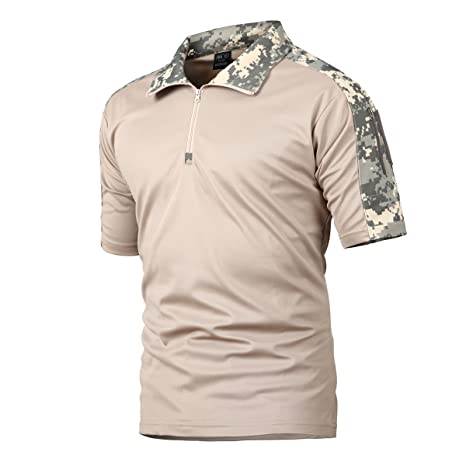 f2e7eed1 QCHENG Men's Military Tactical Shirt Short Sleeve Performance Polo Cargo  Pullover Outdoor T-Shirt Army