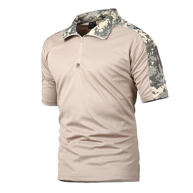 Camisa de Combate para Hombres Caza táctica Militar Polo de Manga Corta Held Airsoft Camuflaje Camiseta