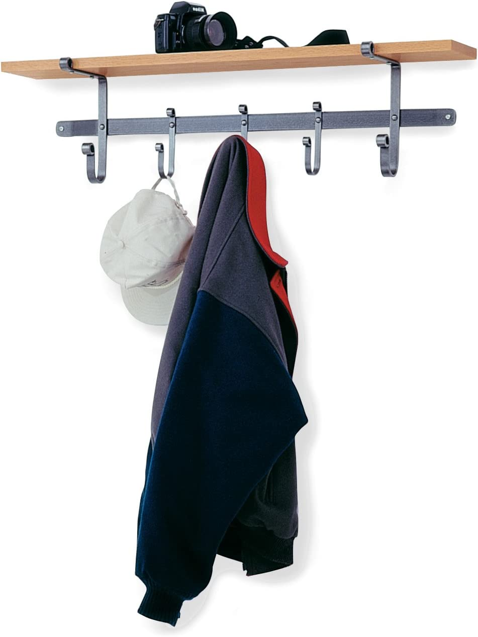 Enclume Shelf Coat Rack with Hardwood Shelf, Hammered Steel