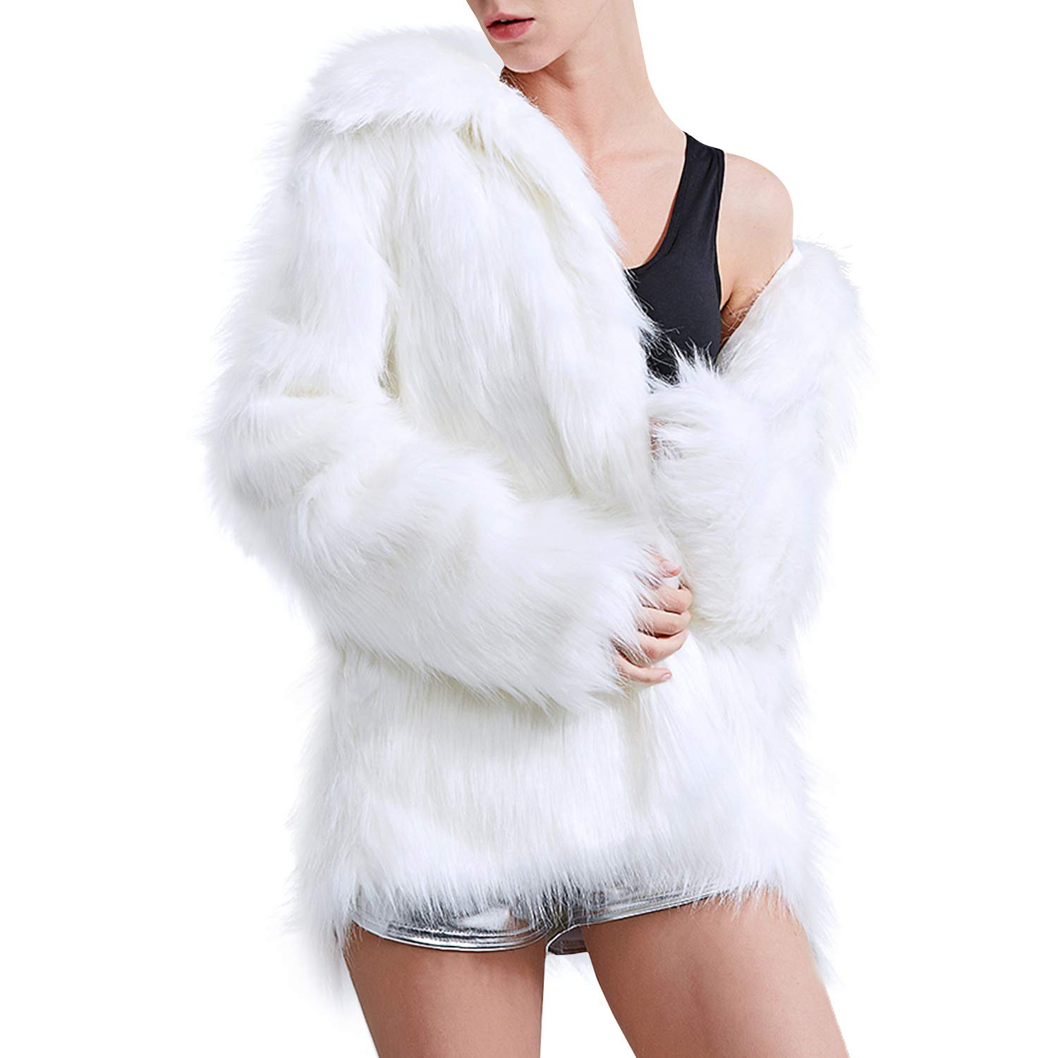 70s Jackets, Furs, Vests, Ponchos Zicac Faux Fur Coat Winter Warm Fur Jacket Luxury Long Sleeve Overcoat Parka Outerwear for Women Men $39.99 AT vintagedancer.com