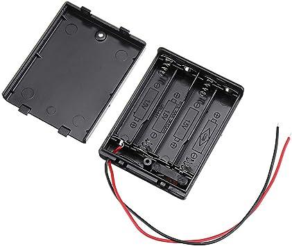BliliDIY 4 Ranuras No.7 AAA Caja De Batería Tablero De Soporte De Batería con Interruptor para 4 X AAA Baterías DIY Kit Estuche: Amazon.es: Electrónica