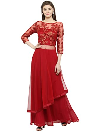 8157b77c359 Just Wow Maroon Net & Georgette Embroidered Top & Skirt Set For  Women's_(JW431)