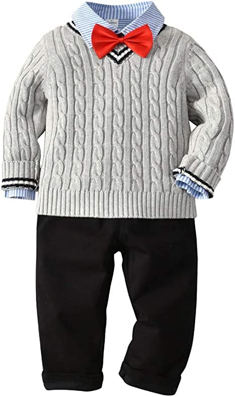 Weentop Traje para niño de 3 Piezas con Mangas largas, Camisas de ...
