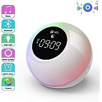 Lampe Réveil Enfant Rechargeable avec Haut-parleurs Bluetooth, Te-Rich Réveil Lumineux Portable avec Contrôle Tactile, Snooze, 7 Couleurs, 6 Sons Hypnotiques, 2 Modes de Lumière pour Fête/Anniversaire