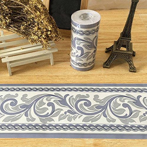 SimpleLife4U Moistureproof PVC Wallpaper Border Peel & Stick Scroll Wall Borders Sticker Home Decor