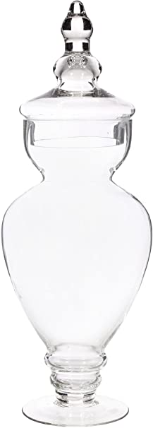 Christmas Tablescape Decor - Elegant Clear Glass Apothecary Jar with Lid
