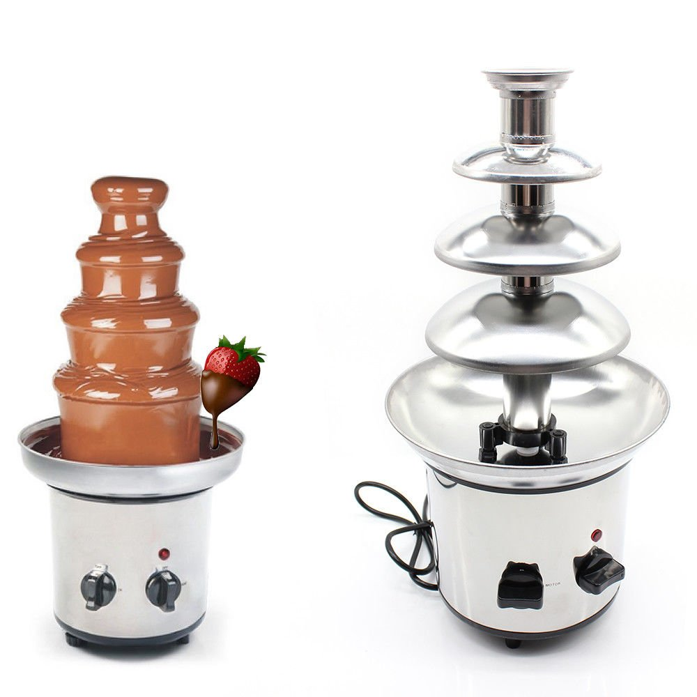 1kg 4 Tiers Commercial Stainless Steel Hot New Luxury Chocolate Fondue Fountain