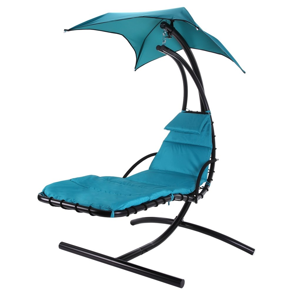 Amazon.com : Palm Springs Outdoor Hanging Chair Recliner Swing Air Chaise  Longue (Teal) : Garden U0026 Outdoor