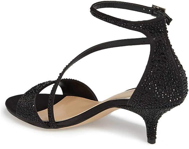 Meiliwanju Womens Sequins Mid Kitten Heels Open Toe D-Orsay Party Sandal Ankle Strap Low Heels Pump Shoes