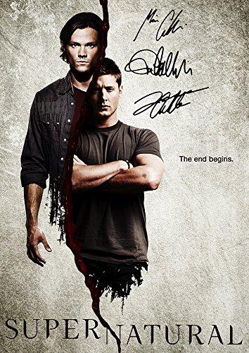(11.7 X 8.3) Supernatural Tv Print Jensen Ackles Jared Padalecki Misha Collins