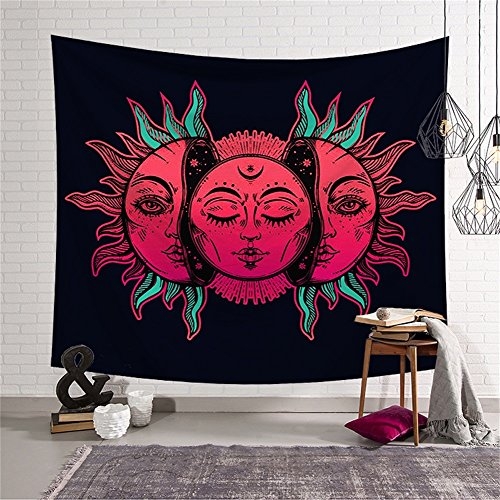 Psychedelic Celestial Red Sun and Moon with Fractal Faces Decor Tapestry Wall Hanging Hippie Celestial Energy Mystic Art Print for Window Curtain Table Cover Bedspread Beach Towel HYC44-16-S