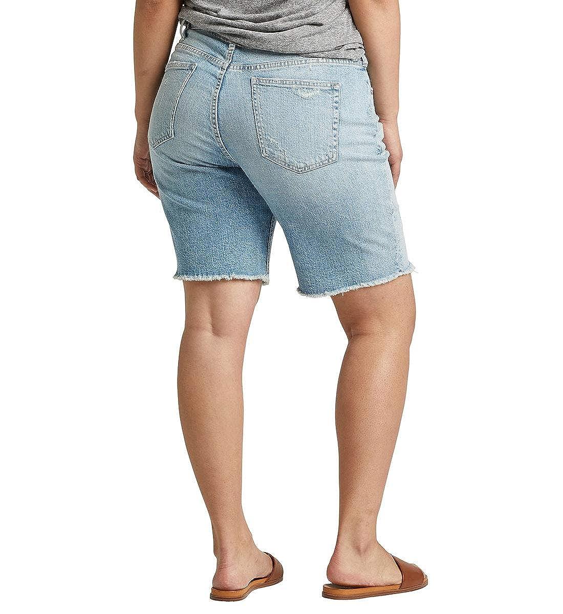 Silver Jeans Co Womens Plus Size Frisco High-Rise Vintage Knee Short