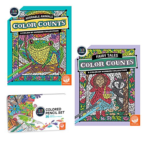 MindWare Color by Number Color Counts: Fairy Tales and Adorable Animals Set of 2 with Pencils