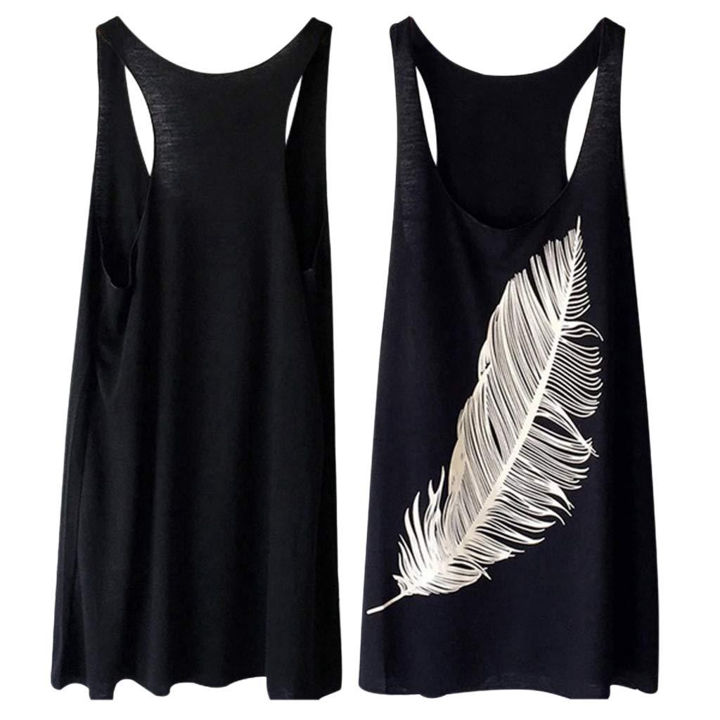 SODIAL Summer Womens Feather Print Fashion Ladies Long Vest Casual Plus Tank Top Black XXXL