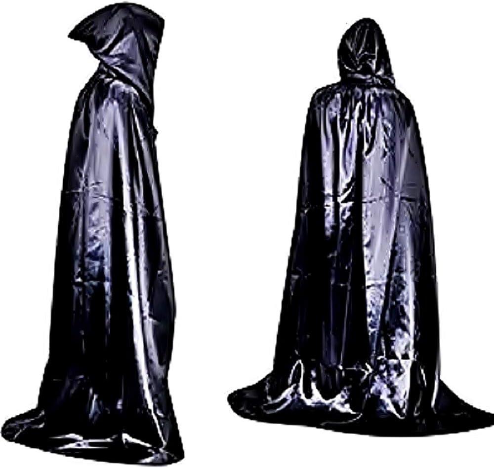 Mantello Nero Lungo Cappuccio Velluto Donna Da Uomo Halloween Costume Vampiro Dracula