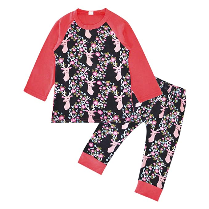e99d3c3f5 Xinvision Girls Pajamas Set Christmas Pjs - Cotton Reindeer Toddler ...